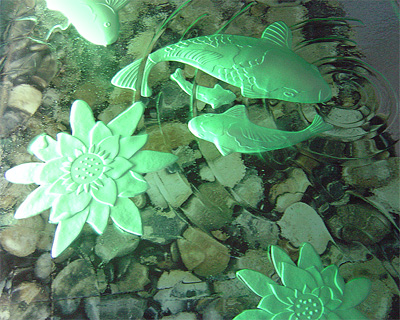 Custom Seashell Glass Sink Backlight Etched 3